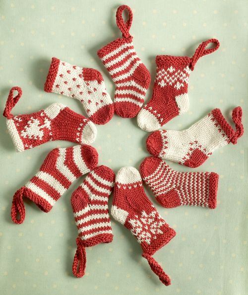 Free Knitting Patterns Mini Knitted Christmas Stockings