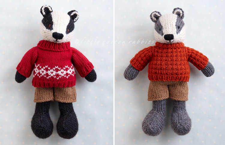 Badger with sweaters
